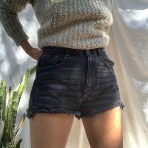 Zara TFR Faded Distressed Black Shorts